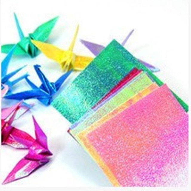 50pcsset Square Origami Paper Single Side Shining Folding Solid