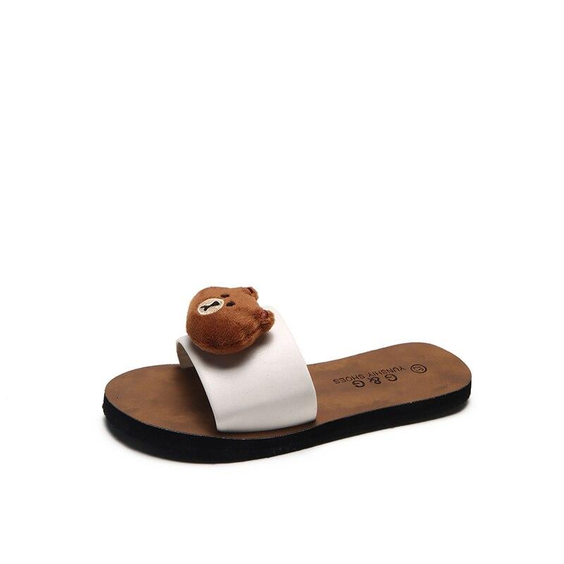 New Summer Women Open Toe Cartoon Cute Slippers Outdoor&Indoor Rubber Sole Anti Slip Flip Flop Bathroom Floor Home Slippers Sx1