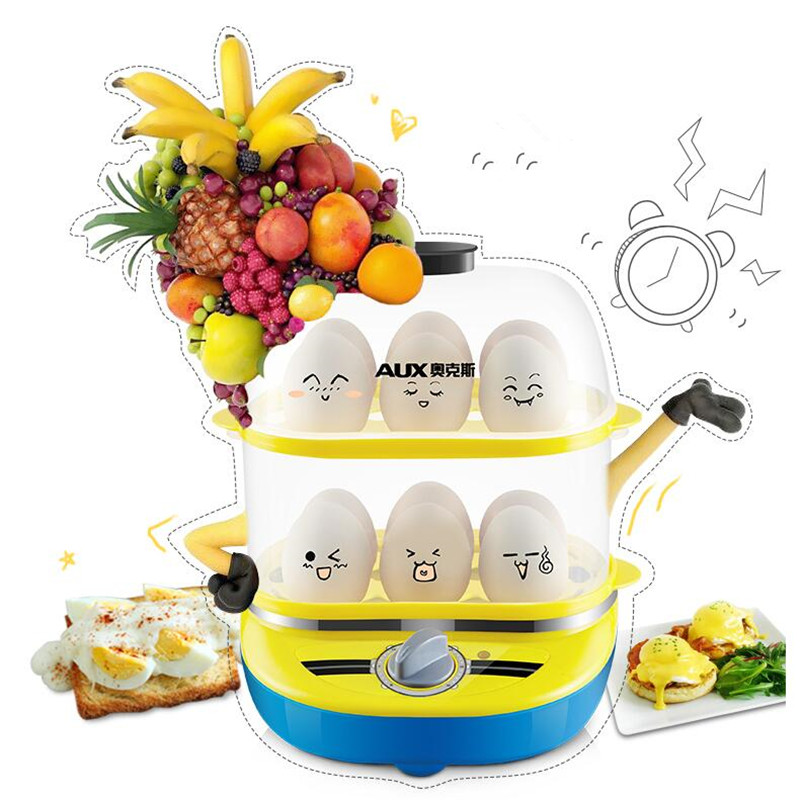 220V AUX Electric Egg Boilers Machine 2 Layers Big Capacity Egg Steamer 12 Eggs Hole Breakfast Machine Auto-Off Function tonze electric mini multi egg boilers of 5 eggs 350w automatic power off household breakfast machine cute steam cooker