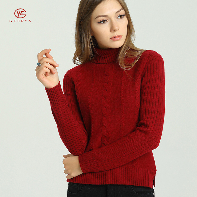 Geerya Knit Jumper Womans Solid Color Turtleneck Cashmere Sweater Long Sleeve Casual Sweet Jumpers Korean Style Women Top