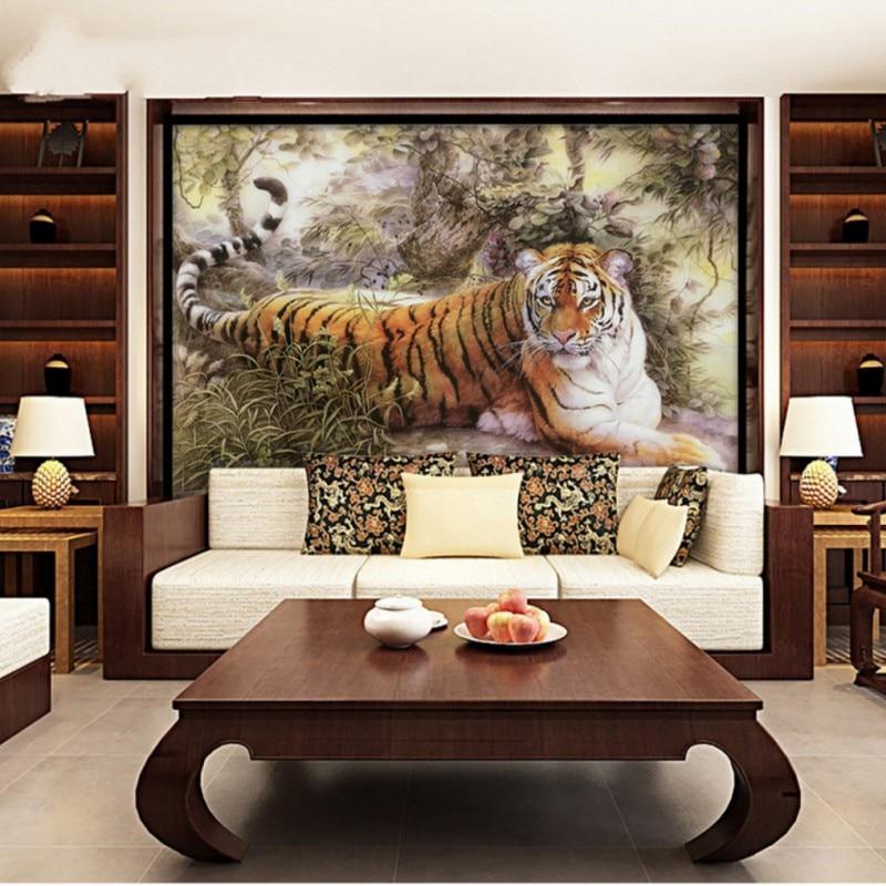 Custom 3d wallpaper high definition Chinese Tiger Landscape Mural ...