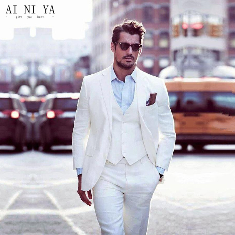 New Arrival Ivory Grooms Tuxedos White Wedding Suits For Men Notched Lapel Slim Fit Mens Suits