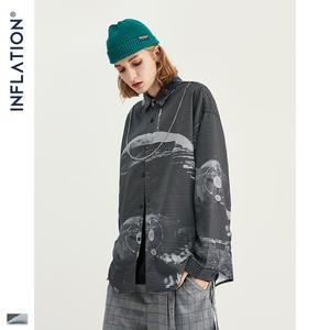 Image 1 - אינפלציה גברים סיני סגנון חולצות גברים ארוך שרוול Streetwear חולצות 2020 סתיו חדש רחב מימדים גברים מקרית חולצה 92137W