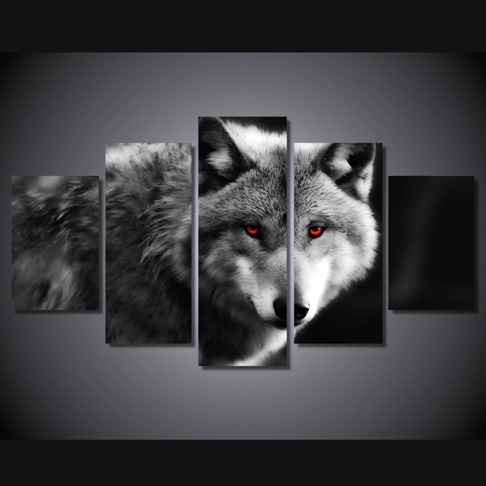 Modern Canvas Wall Art Black And White Wolf Print