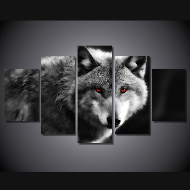 Modern canvas wall art picture black and white wolf print on canvas for living room decor