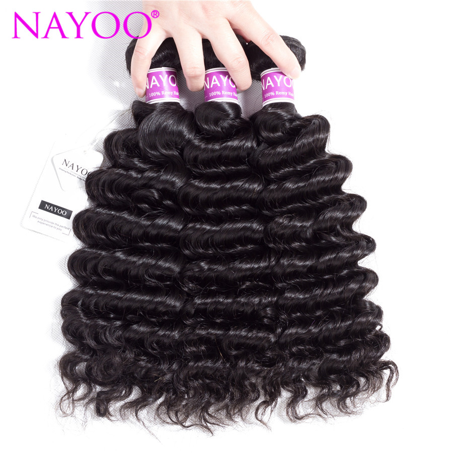 NAYOO Deep Wave Indian Hair Weave Bundles Natural Color Remy Human Hair Bundles Hair Machine Double Weft 3 Piece Hair Extensions