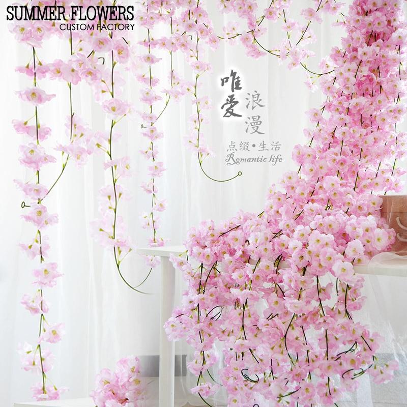 igh simulation 2 m cherry blossom cane wedding enamel wall 3 layer petals arch decoration flower romantic decoratio