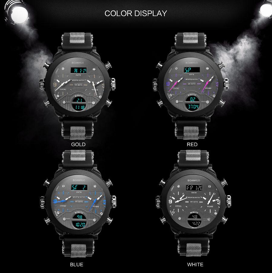 HTB1eKzraYGYBuNjy0Foq6AiBFXas men watches BOAMIGO brand 3 time zone military sports watches male LED digital quartz wristwatches gift box relogio masculino