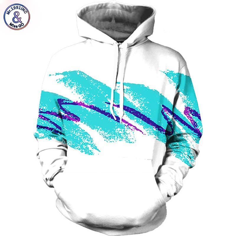 Mr.1991INC Watercolor digital printing Men/women Hoodies Print Waves 3d Hooded sweatshirts Autumn Winter Fashion Hoody tops