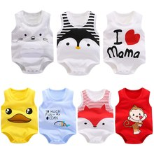 New Summer Baby Boys Romper Animal style Sleeveless infant rompers Jumpsuit cotton Baby Rompers Newborn Clothes Kids clothing(China)
