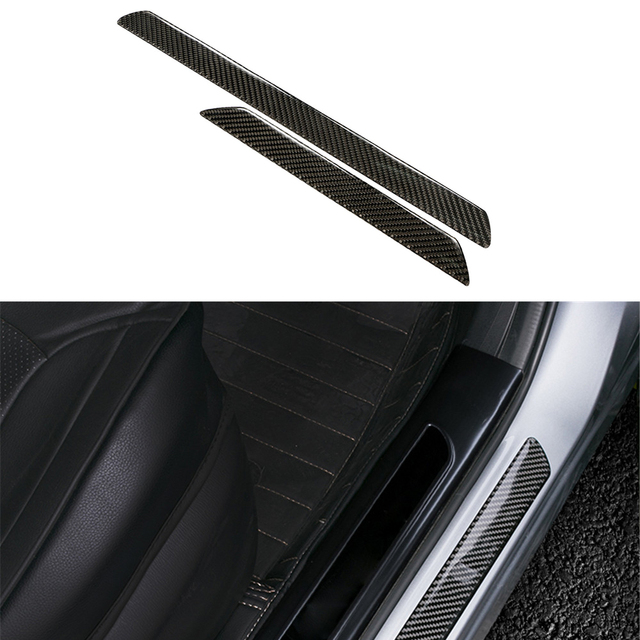 2pcs carbon fiber car outside door sill plate guard frame trim styling sticker for ford focus