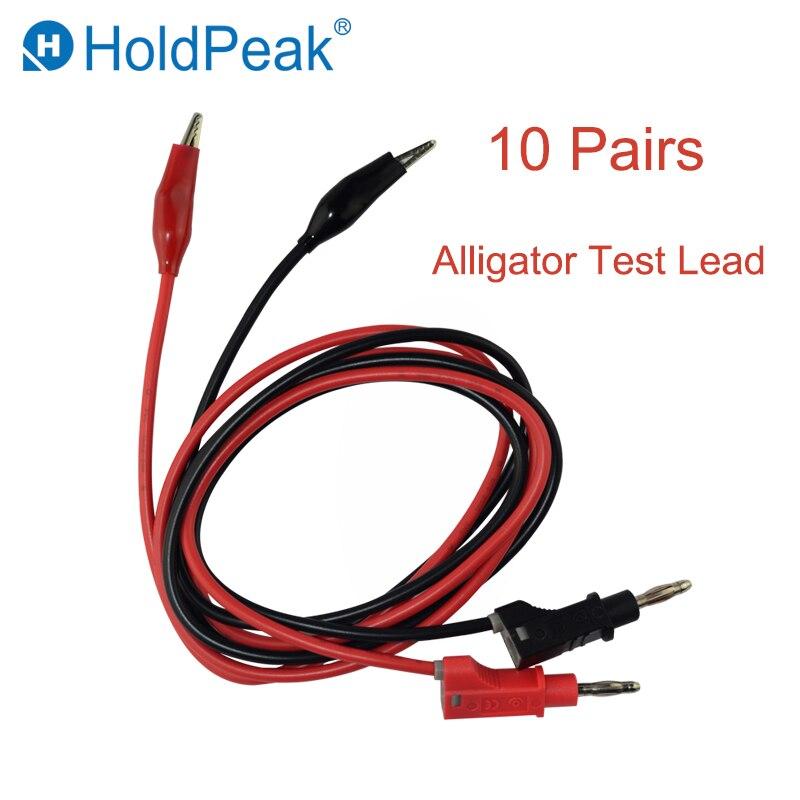 HoldPeak nouveau cordon de Test Alligator 10 paires pince électrique à fiche banane câble connecteur conduit pour Test multimètre