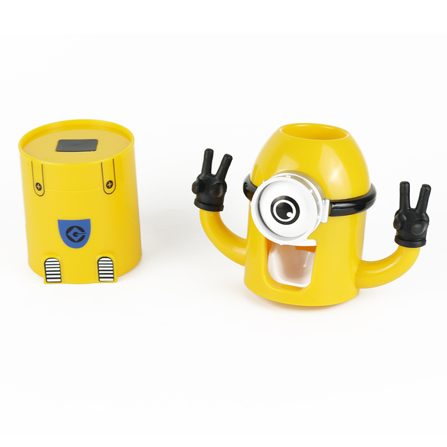Yellow  Minions Toothbrush Holder Automatic Toothpaste Dispenser