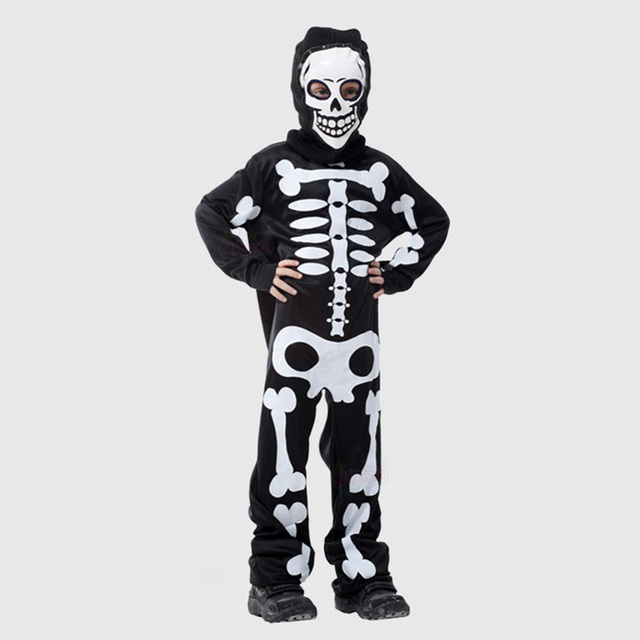 High Quality Children Skull Skeleton Dress Kids Devil Ghost Horror Clothing Masquerade Party Hooded Costume