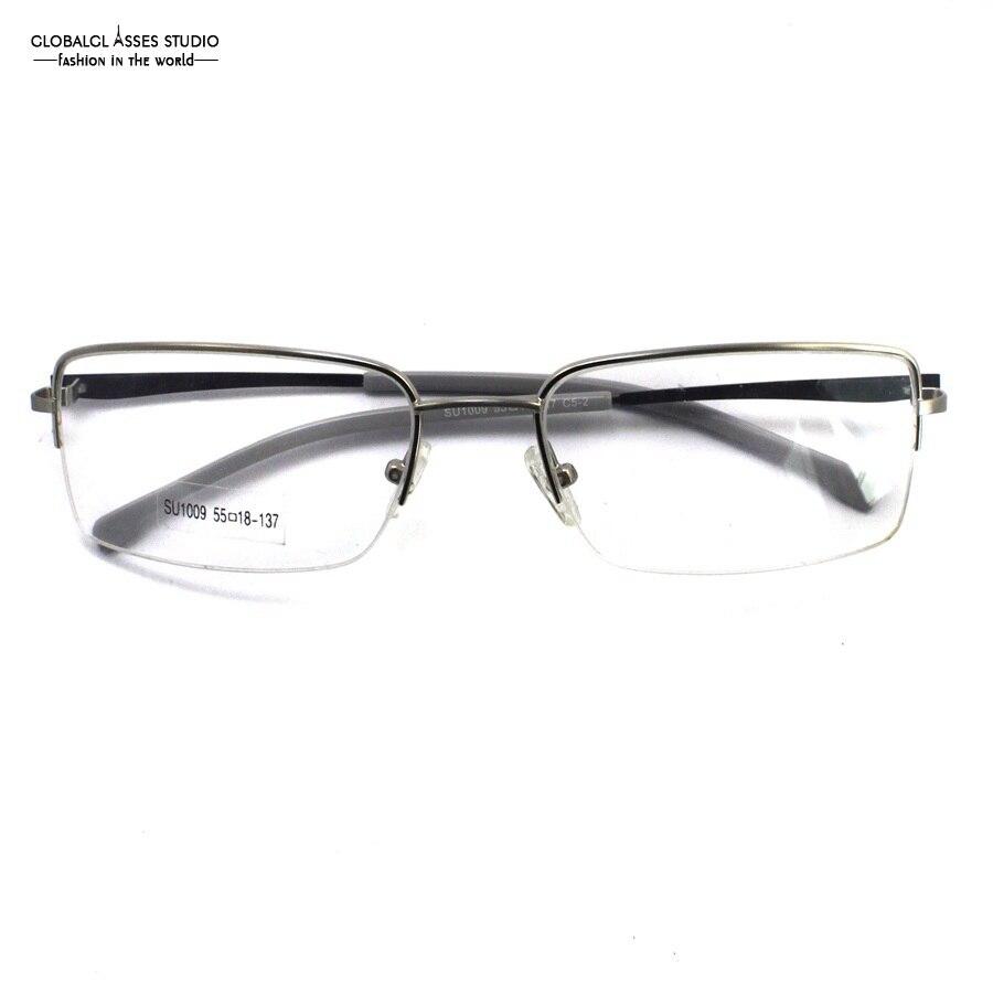 Reife Halbrand Metall Brillengestell Silber Rahmen Schlank Acetate ...