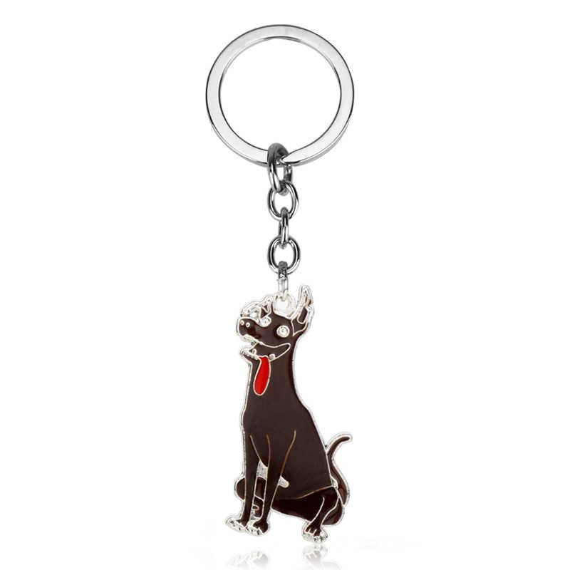 Dongsheng Perhiasan Film Meksiko Berbulu Anjing Coco Dante Keychain Logam Tas anjing Dante Pendant Keyring Mobil Pria Gantungan kunci Hadiah-50