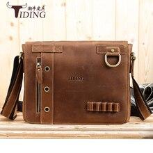 vintage crazy horse leather shoulder bag Men's Messenger Bag Man Shoulder Sling Bag 13 inch laptops Bag man travel bags