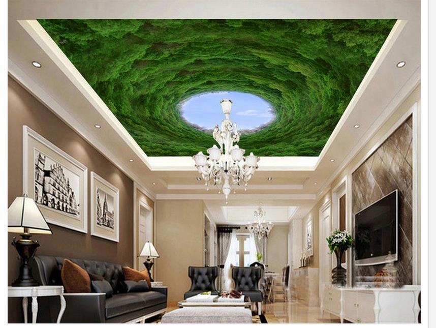 Custom d behang kamer moderne behang bos blauwe hemel plafond