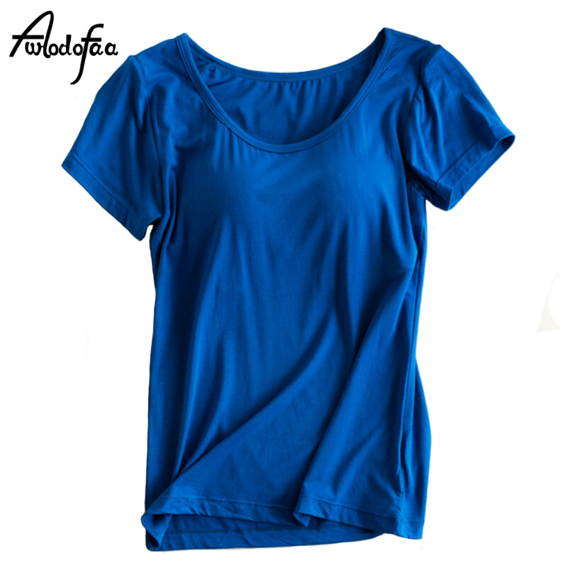 Hot sell brand sexy Ms tops new with chest pad t-shirt bra women home tees girls short-sleeved T-shirt female one-piece bra tops