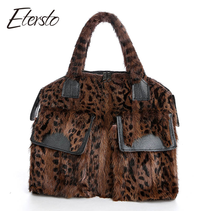 Etersto 2017 New Real Brown Mink Fur Women Bags Leather Fur Messenger Bag Solid Big Handbag Fashion Ladies Crossbody Bags etersto 2017 new arrival women real mink fur handbag luxry real fur bag flap bags ladies crossbody bags female bags for lady