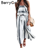 BerryGo Elegant Stripe Chiffon Summer Dress Suit Casual Ruffle Sleeveless Two Piece Long Dress Vintage Beach