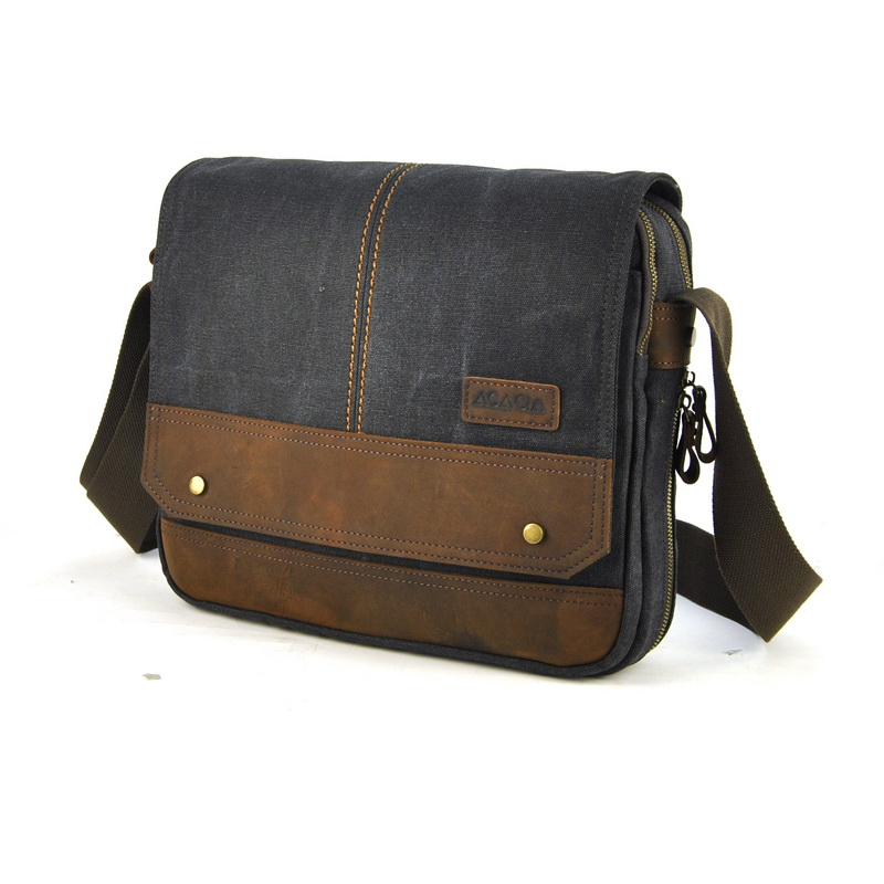 Men Canvas Vintage Genuine Leather Messenger Laptop Bag Shoulder Cross Body Satchel Classic Flap 2 Compartment High Quality Bags casual canvas women men satchel shoulder bags high quality crossbody messenger bags men military travel bag business leisure bag