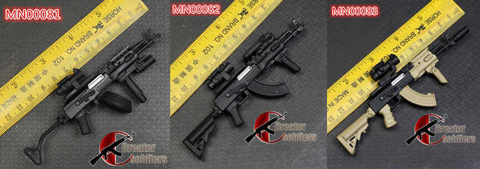Minitoys Military 1/6 Weapon Model Russian AKM AK47 AK74 Metal Rifle  Military for Action Figure DIY