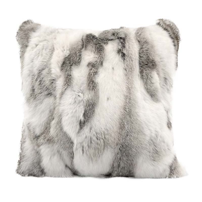Rabbit fur pillow case color silver