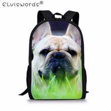 ELVISWORDS Teenager Children School Bags 3D French Bulldog Printing Schoolbags for Boys Girls Pet Dog Pattern Women Book Bags(China)