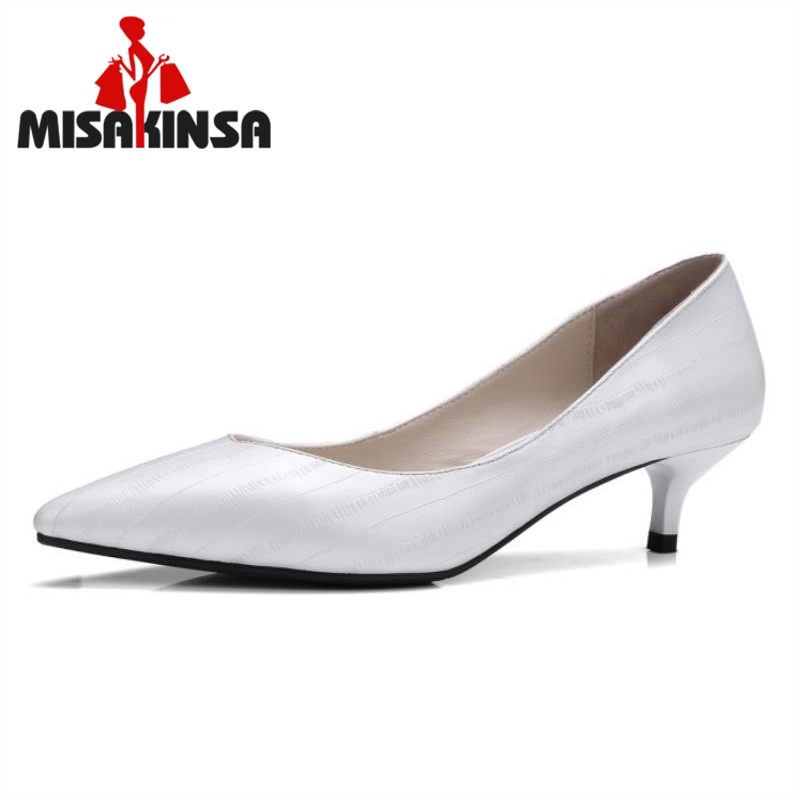 MISAKINSA Female Genuine Leather Med Heels Pumps Ladies Sexy Pointed Toe Slip On Shoes Women Concise Office Footwear Size 33-41 ladies real leather pumps shoes women pointed toe cross strap gladiator shoes fiork nude color sexy female footwear size 34 40
