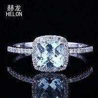 Solid 10K White Gold Cushion Cut 6x6mm 100% Genuine Aquamarine Halo Natural Diamonds Engagement Wedding Women Jewelry Ring