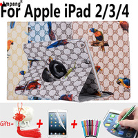 Bird Prints Case For IPad 2 9 7 Inch PU Leather 360 Rotating Cover For IPad