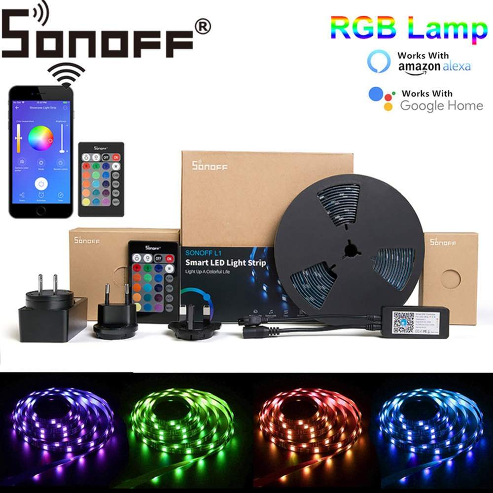 SONOFF L1 2M 5M Smart WiFi RGB LED Strip Light Waterproof App Voice Remote Control Dimmable Flexible Adapter With Amazon Alexa