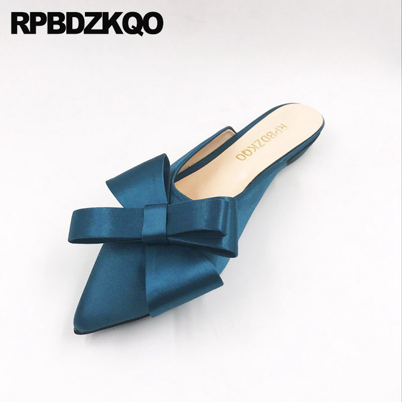 Large Size Women Slippers Sandals 12 44 Bow Satin Navy Blue Pointed Toe 13 Mules Custom 2017 Ladies Beautiful Flats Shoes Cute