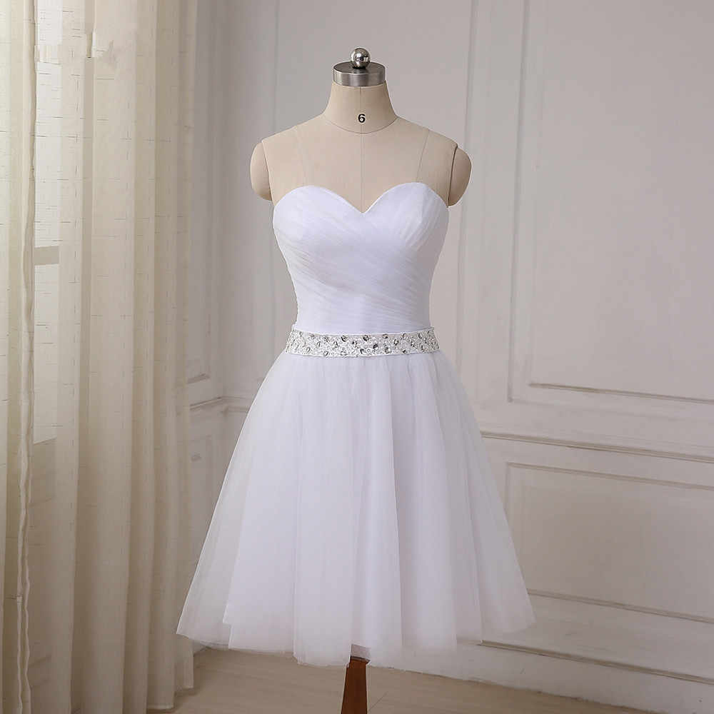 Beaded Summer Tulle Short Wedding Gowns 2019 White Beach Wedding Dress Knee Length Bride Dresses Vestido De Noiva Aliexpress