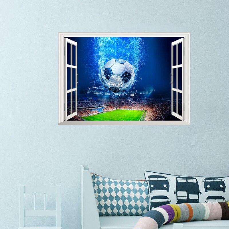 3D Venster Voetbal Voetbal Muurstickers Voor Kinderen Kamers Woonkamer Muurstickers Gym Jongens Kamer PVC Thuis Muurschildering art Decoraties 2