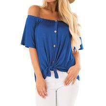 2019 New Yfashion Women Stylish Off-shoulder Short Sleeve Button-up T-shirt button up dolman sleeve shirt