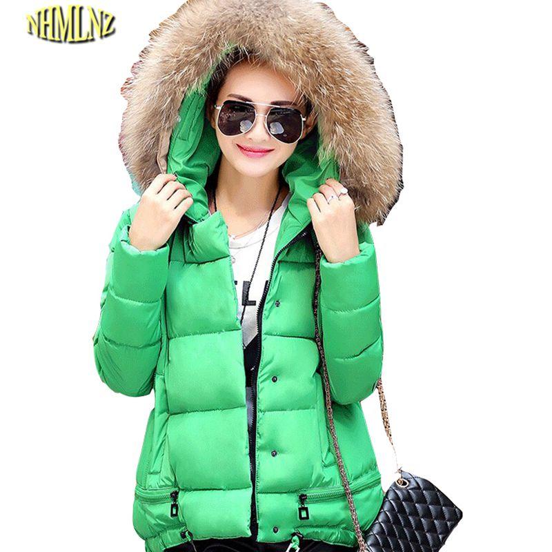 New Elegant Fashion Women Winter Loose Big yards Down jacket Heavy hair collar Hooded Long sleeve Super Warm Cotton Coat G1786 стоимость