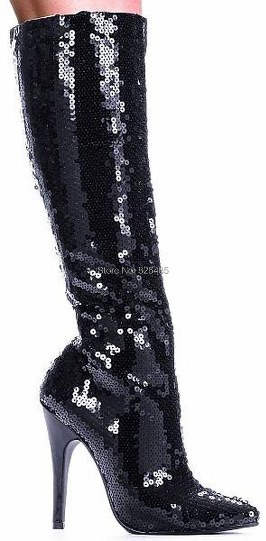12cm high heels women black glitter boots knee high motorcycle boots,bordello disco club burlesque showgirl autumn boots size 44