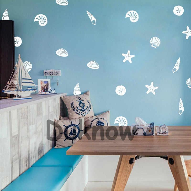 Conjunto de 21 praia concha decalques parede do banheiro decoração, diy concha vinil adesivo para casa berçário litoral mural arte decalques
