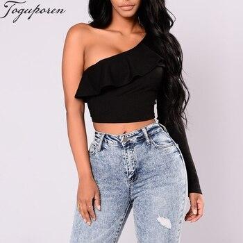 Fall Fashion Ruffles One Shoulder Long Sleeve Black Crop Tops Women T shirt Black Top Sexy Woman Crop Tops T shirts Top