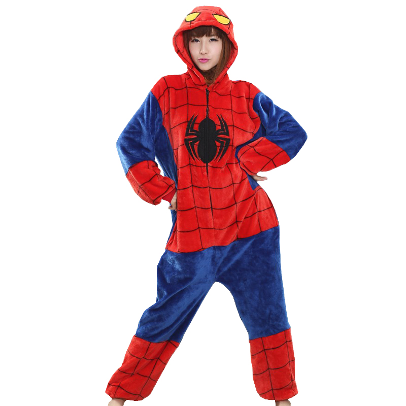 Unisex women men pajamas spiderman costume Adult Pajamas Flannel hoodie Cosplay onesie h ...