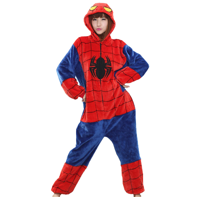 e9adfe7c08 Unisex women men pajamas spiderman costume Adult Pajamas Flannel hoodie Cosplay  onesie high quality spiderman homecoming suit
