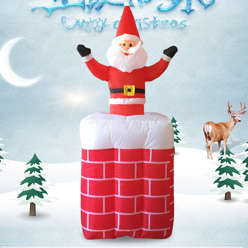 180cm Giant Can Raise Lower Inflatable Santa Claus In Red Brick Chimney Christmas New Year Party Toys Yard Decoration Airblown siku siku 1645 трактор с прицепом для перевозки бревен