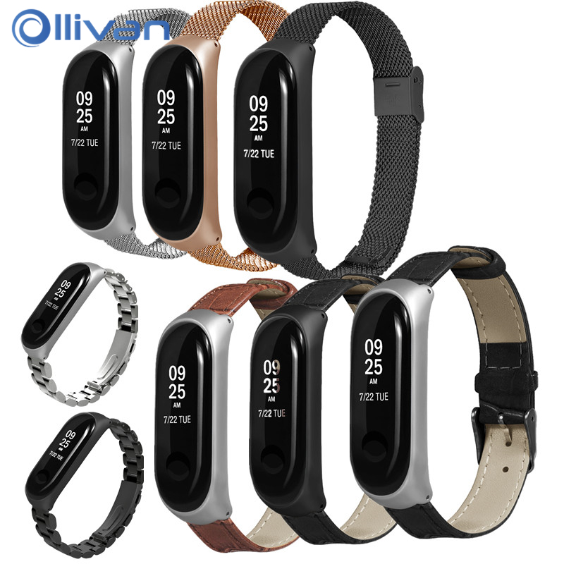 Colorful Leather Black Rose Gold Case Smart Watch band for Xiaomi Mi Band 3 strap bracelet Bands for xiaomi Correa Steel Metal strap