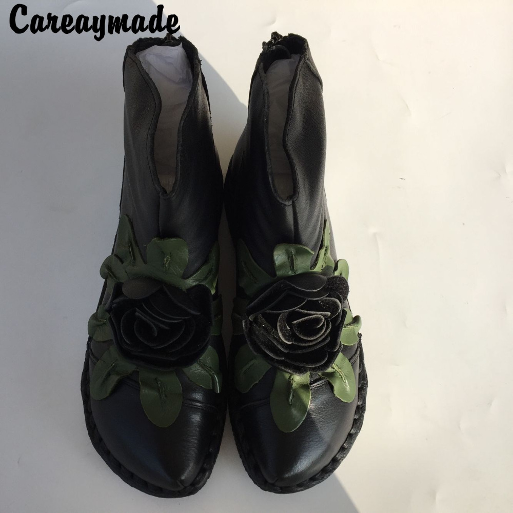 Careaymade-Head layer cowhide pure handmade boots,Flower Retro nation style women's Cotton soft sole Boots,Real Leather shoes
