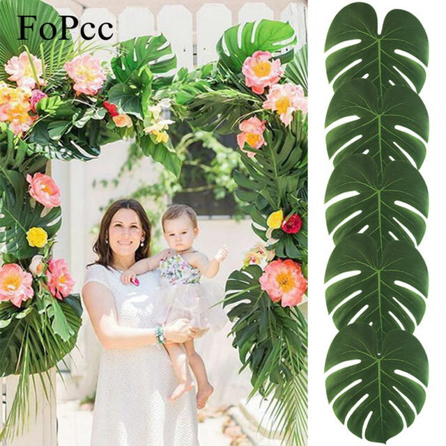 Beach Theme Decorations For Home: 35x29CM 10Pcs Artificial Tropical Palm Leaves For DIY