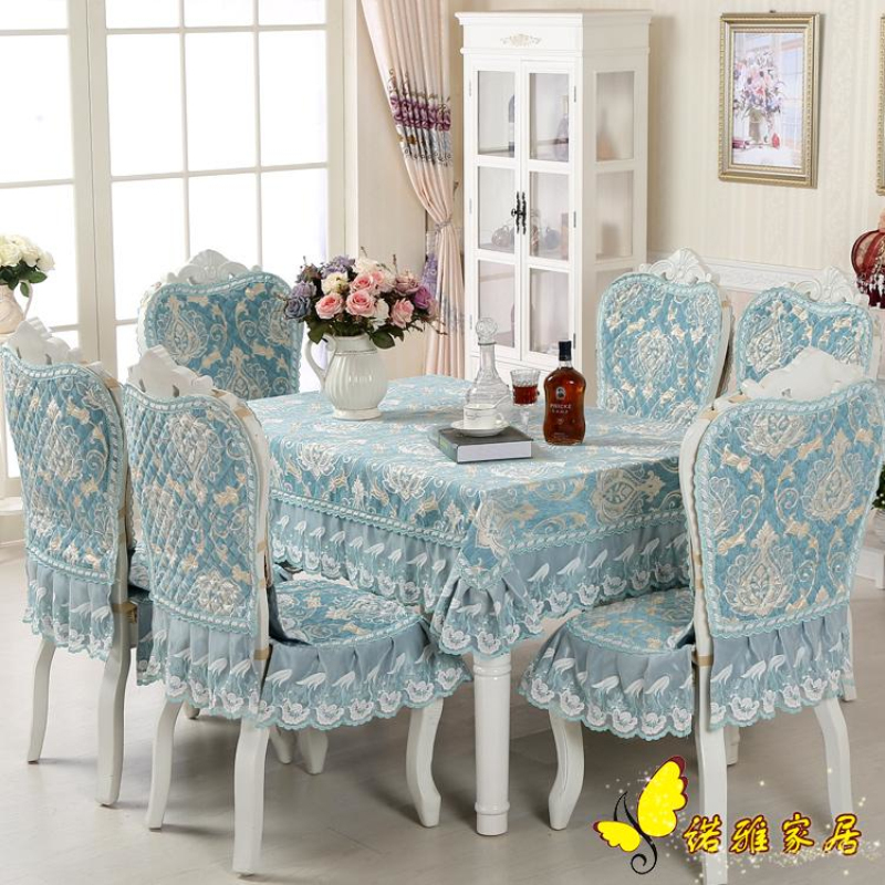 Grade Classical Top Exquisite Purple Thick Jacquard Table Cloth Chair Covers Cushion Cover Lace