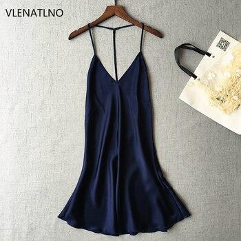 Ladies Sexy Silk Satin Night Dress Sleeveless Nighties V-neck Nightgown  Plus Size Nightdress Lace 26b3d6cb1