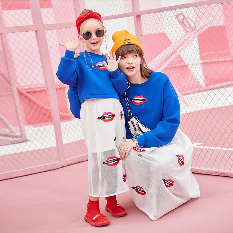 2019 moda Primavera família roupas combinando bordados lábios vermelhos moletons + saias mãe e filha duas peças - 3
